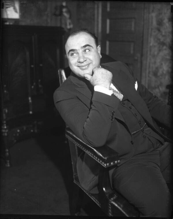 Al Capone Smiling In His Seat