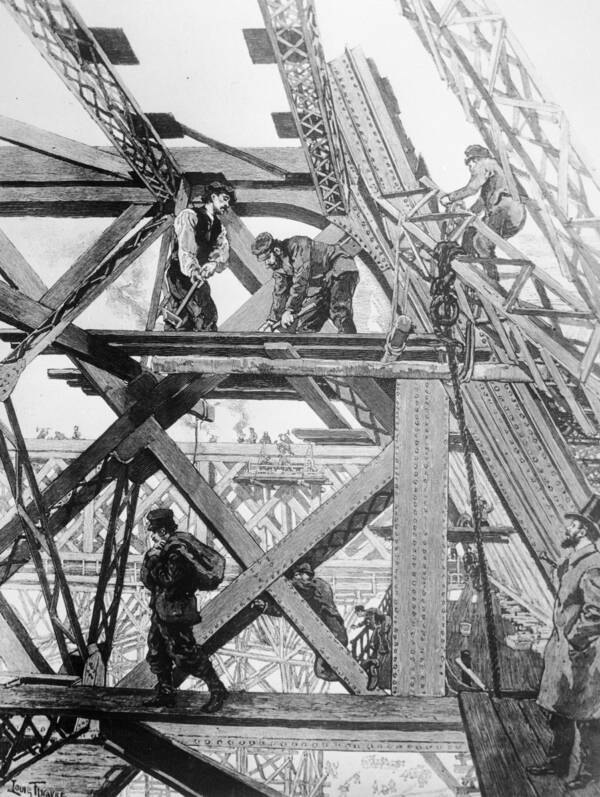 Eiffel Tower Construction Workers