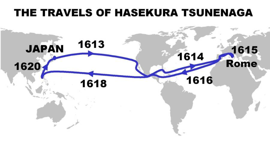 Hasekura Tsunenaga Map Of Voyage
