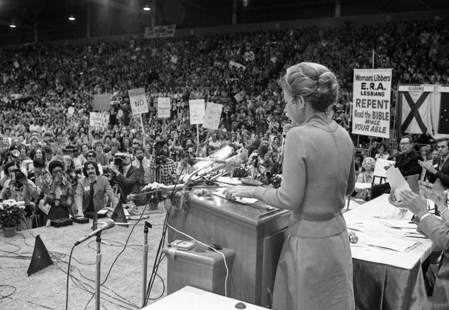 Schlafly Speaking At An Anti-ERA Rally