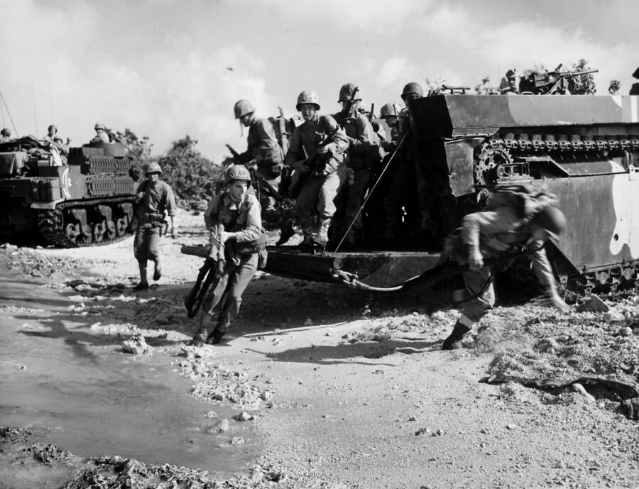 Soldiers Arriving At Okinawa