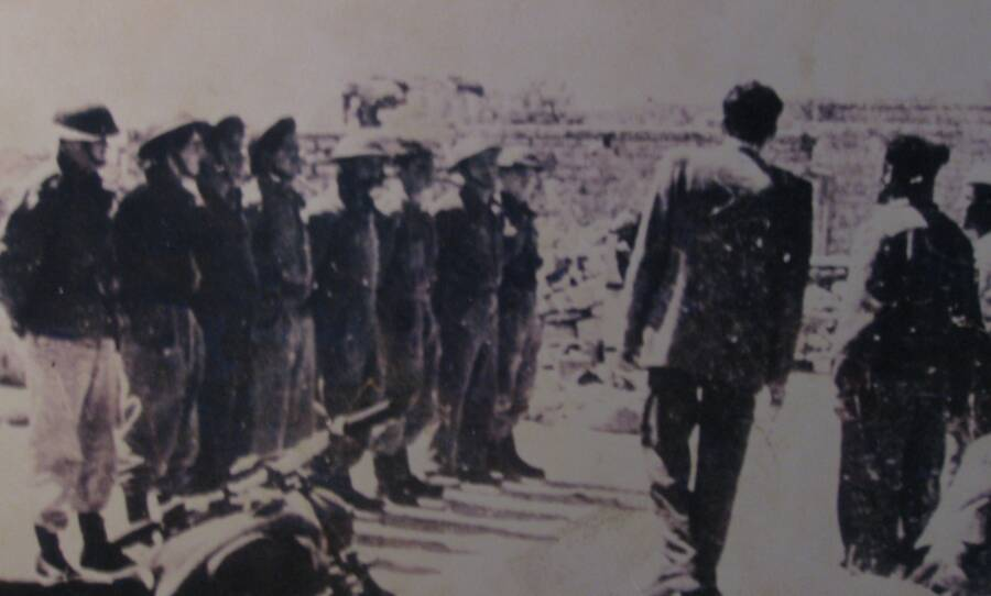 Soldiers Line Up For Deir Massacre