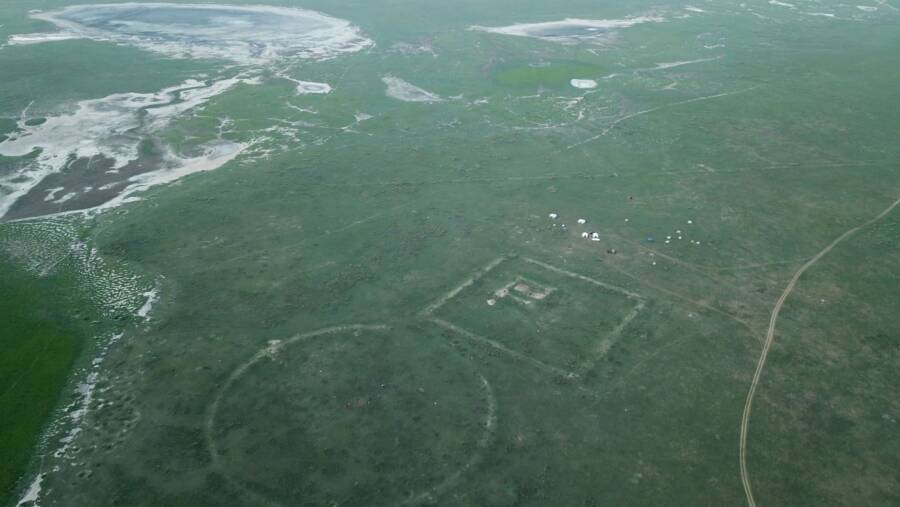 Aerial View Of Genghis Khan Wall And Forts