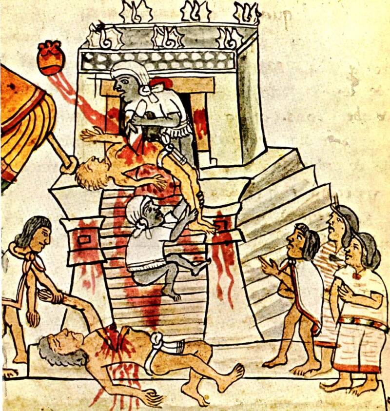 Depiction Of Aztec Sacrifices At Templo Mayor