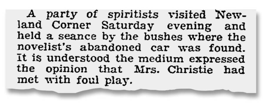 Clipping Of Agatha Christie's Disappearance