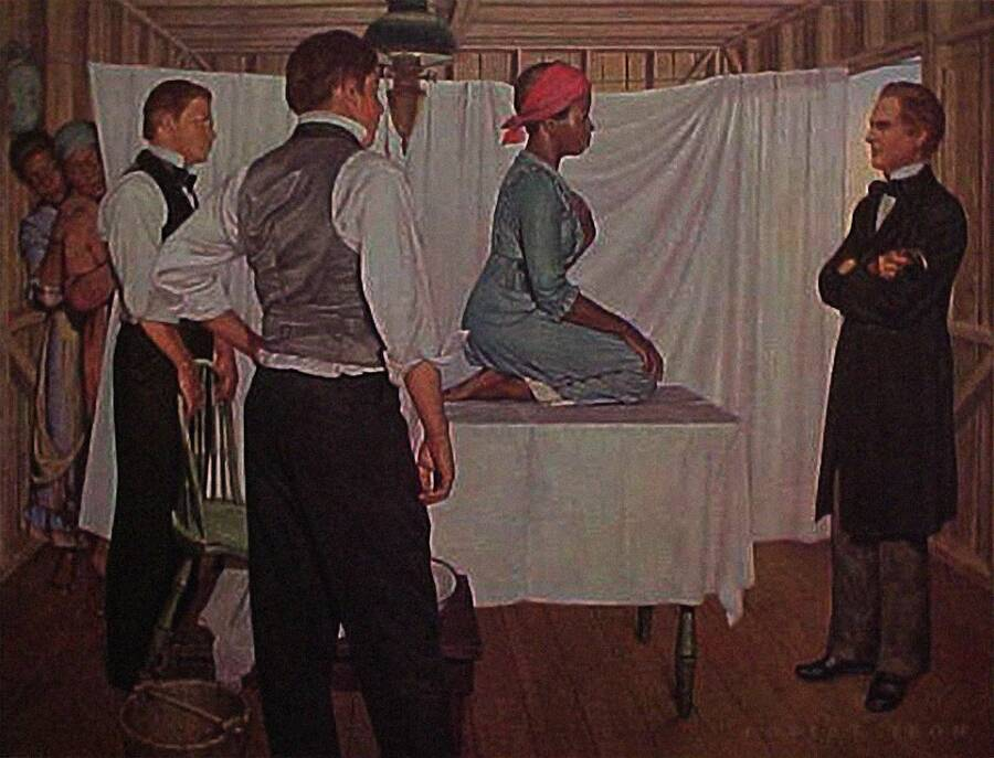 Depiction Of Lucy The Slave On Medical Table