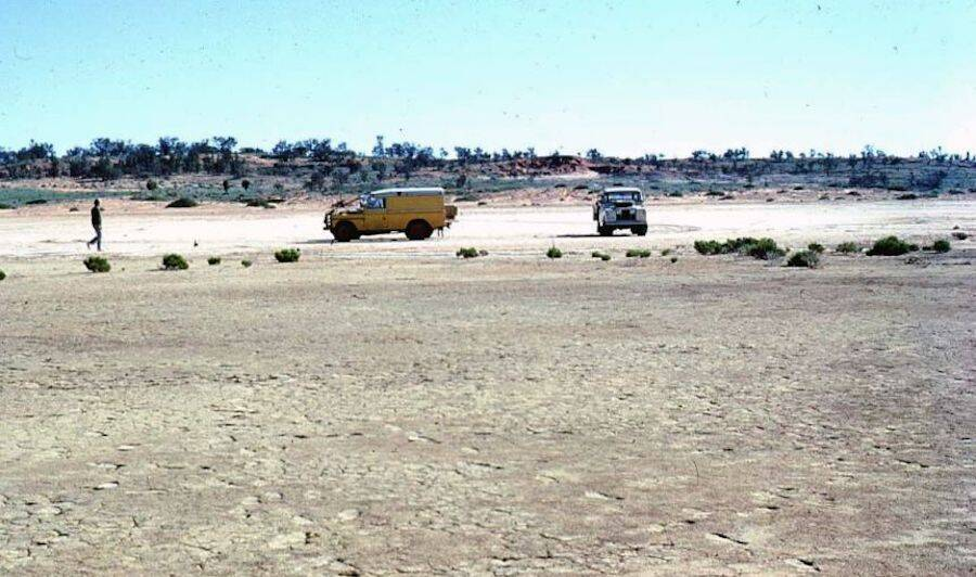 Lago de sal seco na Austrália