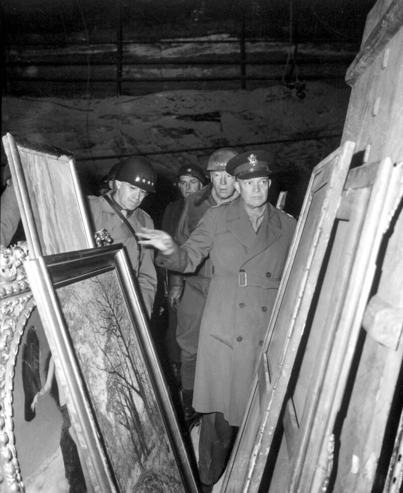 Eisenhower Inspects Works Recovered By Monuments Men