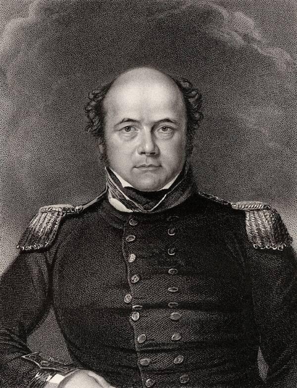 Engraving Of John Franklin In Uniform
