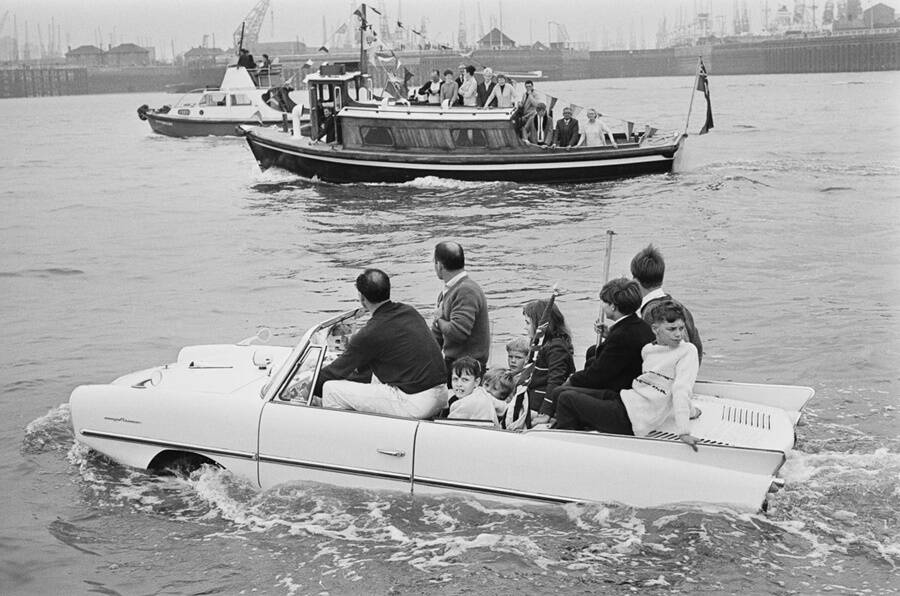 Family Inside An Amphibious Car