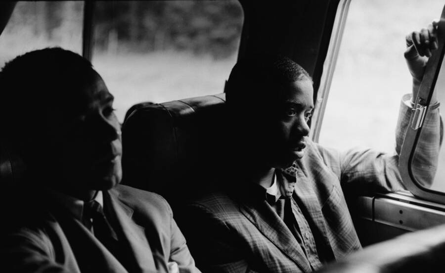 Freedom Riders On The Bus In Montgomery
