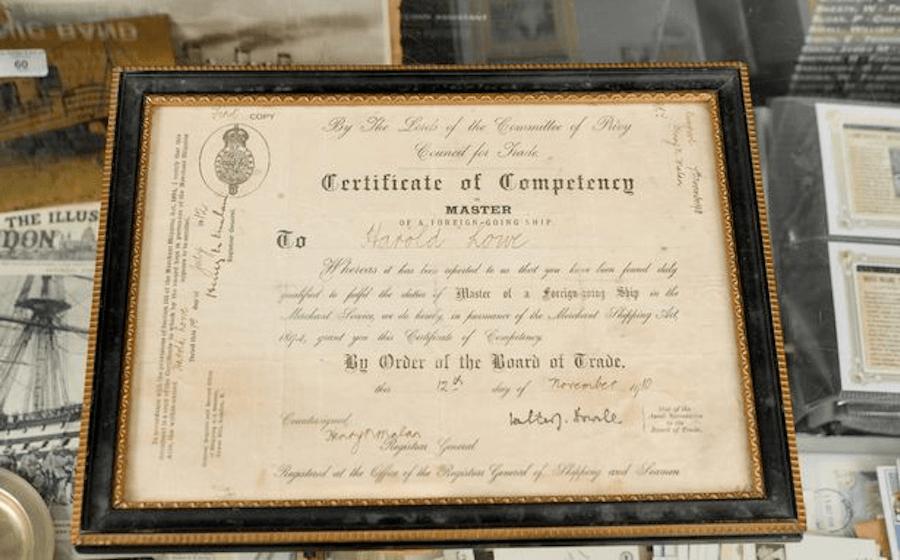 Harold G. Lowe Certificate Of Competency