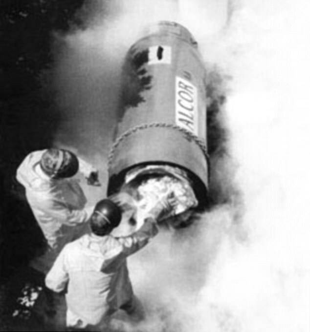 James Bedford Being Transferred Into Another Cryonic Tube
