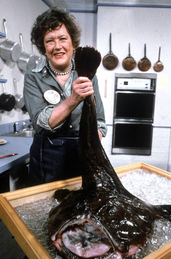 Julia Child Holding A Monk Fish