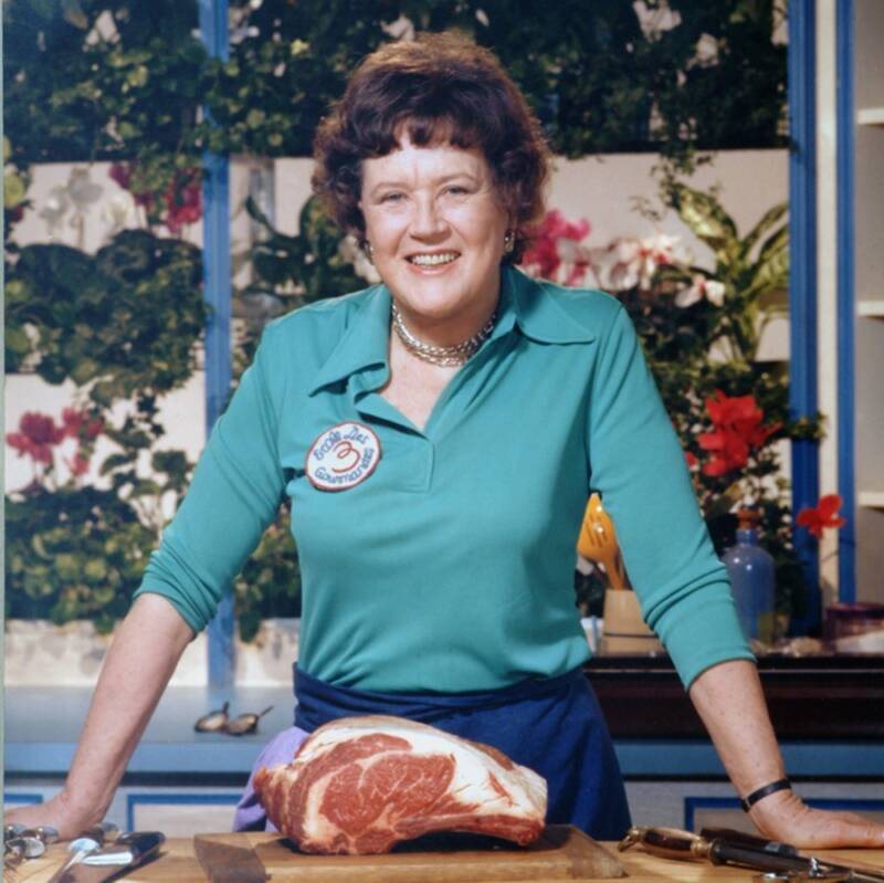 Julia Child Posing With Meat