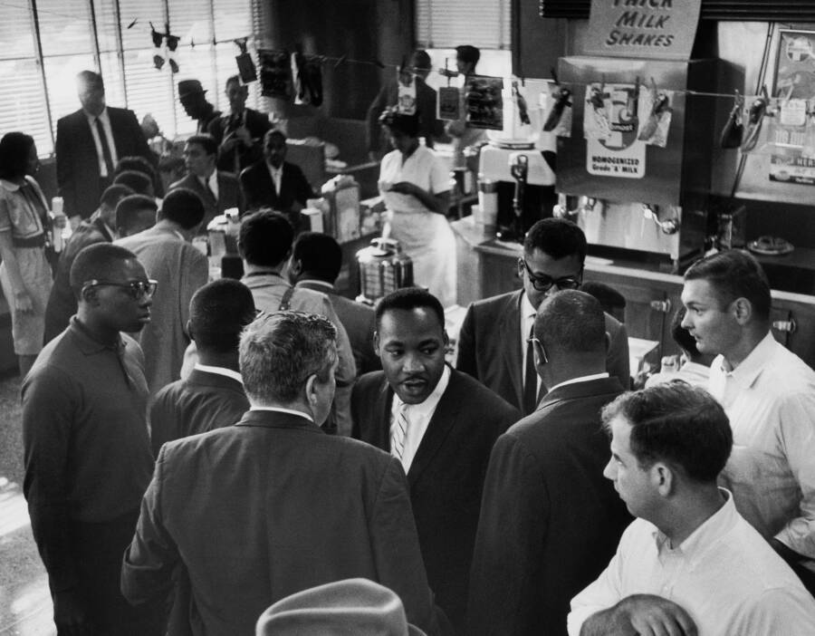 Martin Luther King With Protesters