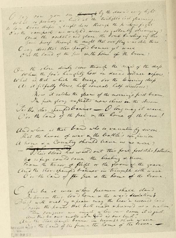 The Star Spangled Banner Manuscript