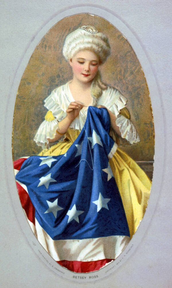 Painting Of Betsy Ross Sewing The American Flag