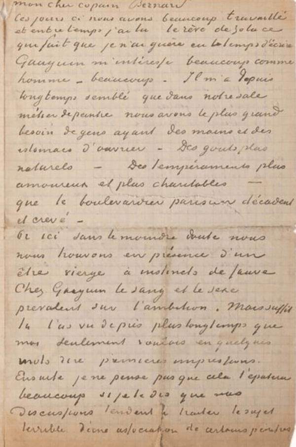 Page 3 Of Vincent Van Gogh And Paul Gauguin's Letter