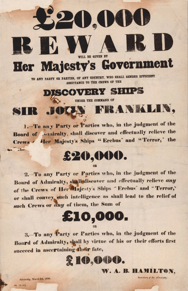 Franklin Expedition Reward Notice