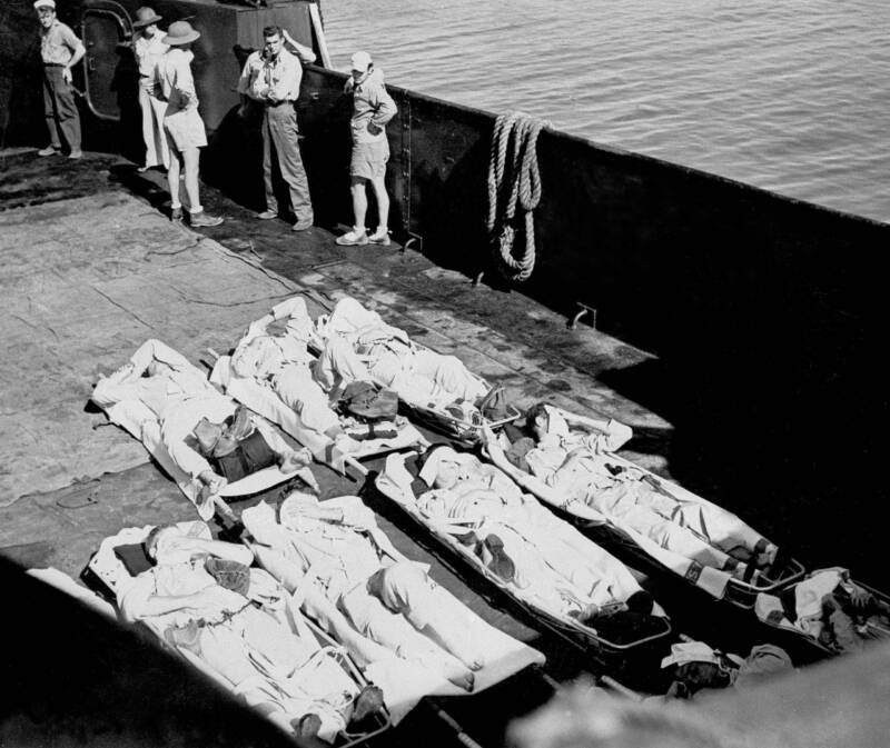 Indianapolis Survivors Laid Out On Stretchers