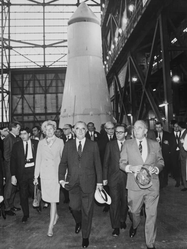 Kurt H Debus And George Pompidous At Kennedy Space Center