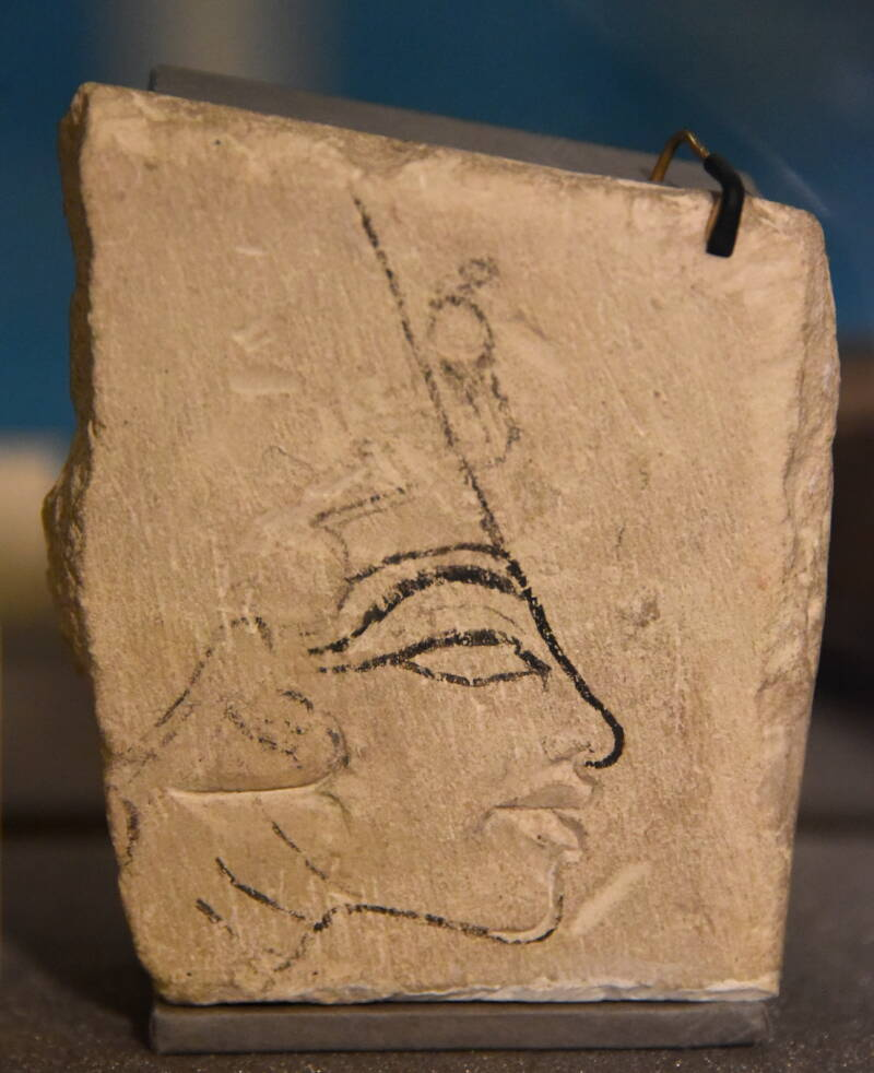 Limestone With Nefertiti Carving