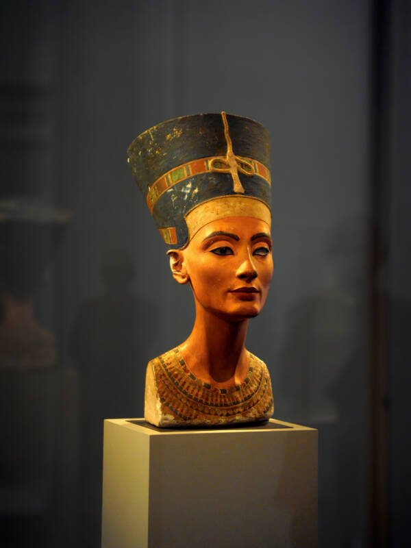 Nefertiti Bust Behind Glass