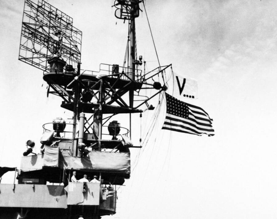 Vj Day Flag Flying On Uss Chenango