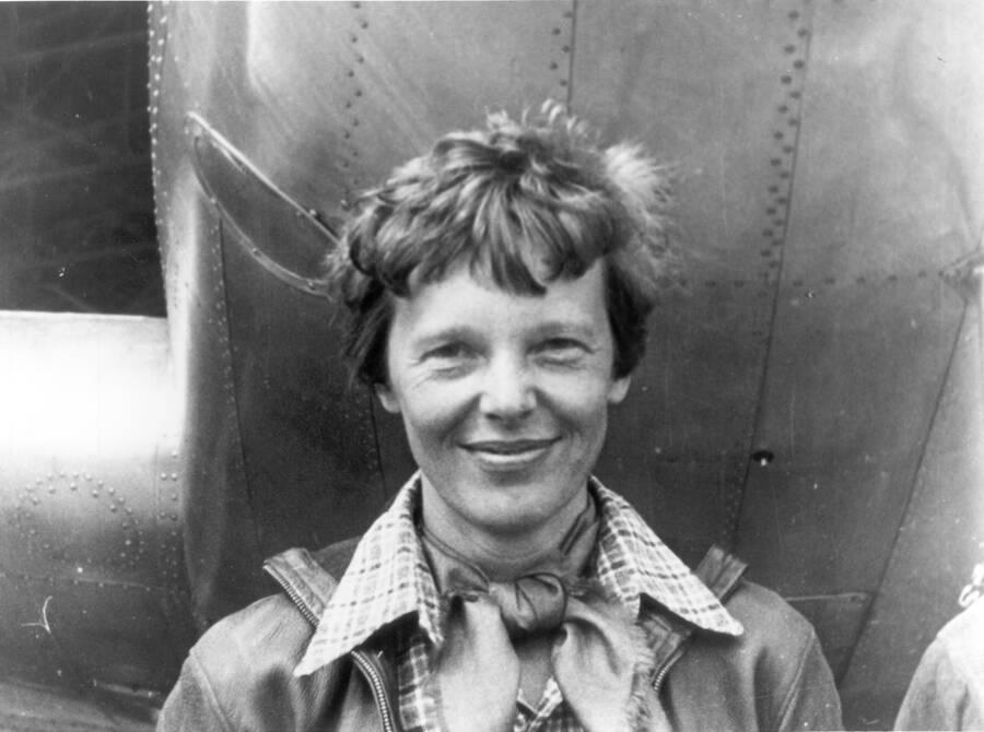Amelia Earhart With Her Lockheed Electra