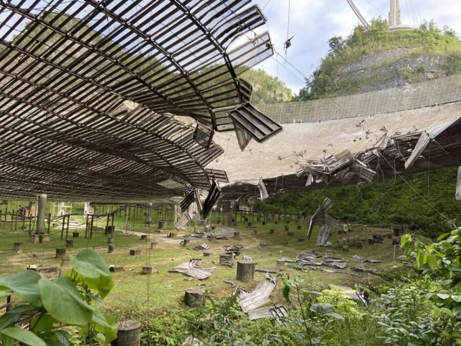 Broken Telescope Dish Of Arecibo Observatory