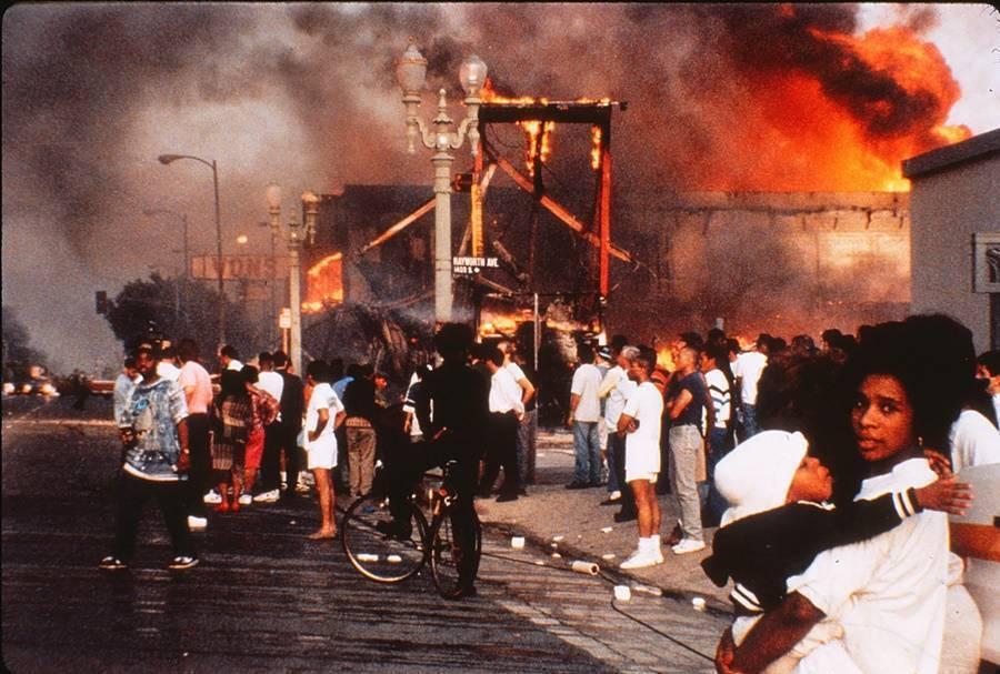 Crowds During The Rodney King Riots