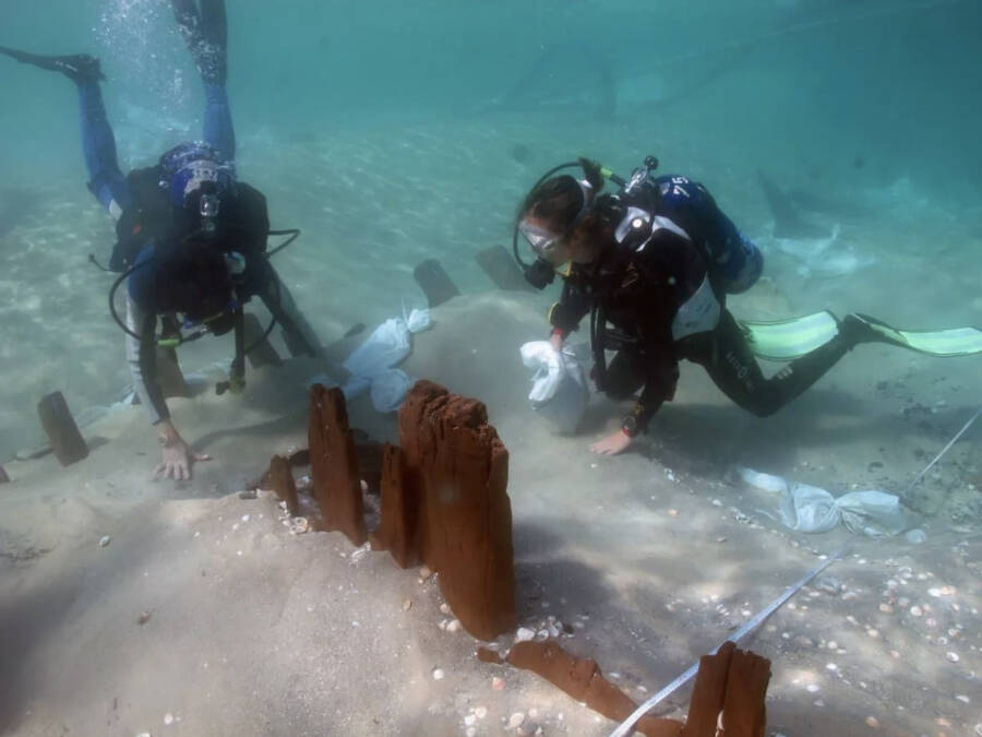 Divers And Israel Shipwreck