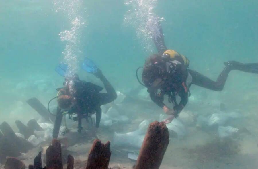 Divers Approaching Byzantine Shipwreck