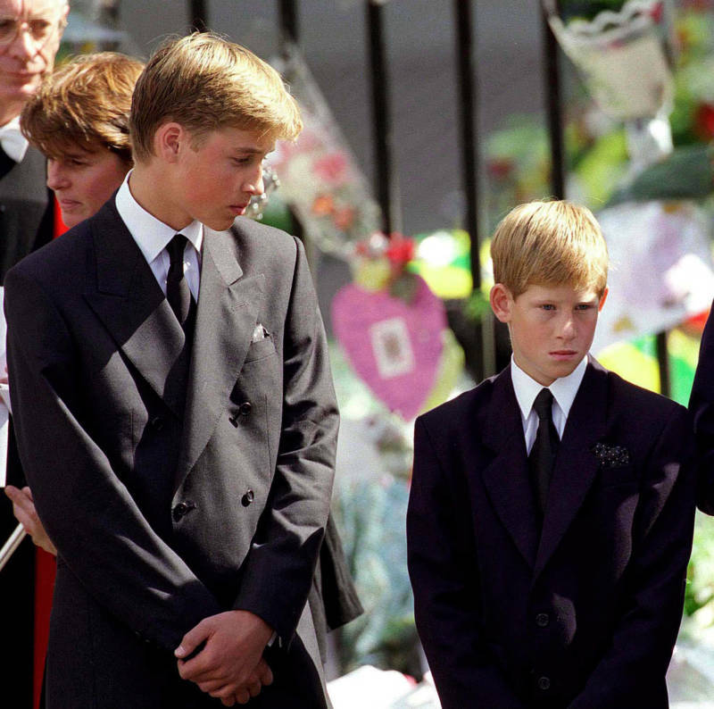 Princes William And Harry At Princess Diana's Funeral