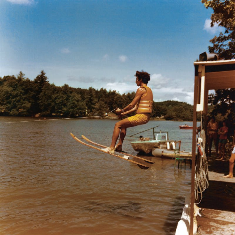Waterskiing At American 1970s Summer Camp