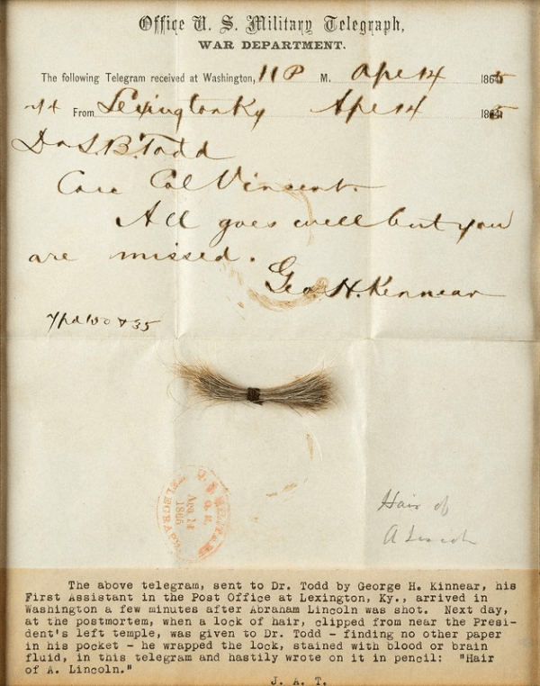 Abraham Lincoln Hair And Telegram