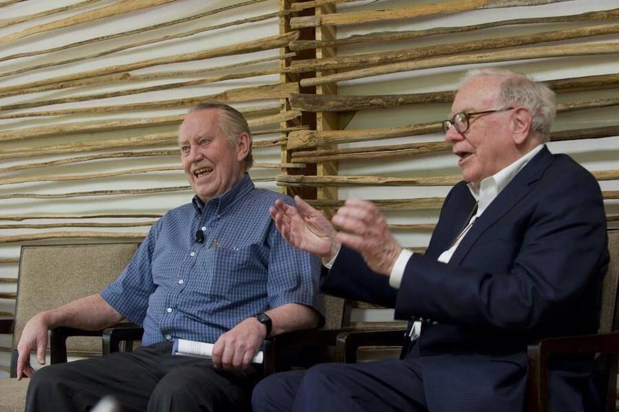 Charles Feeney Laughing With Warren Buffett