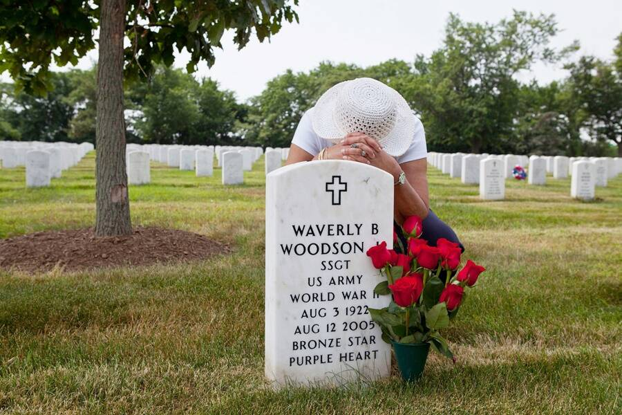Joann Woodson At Her Husbands Grave