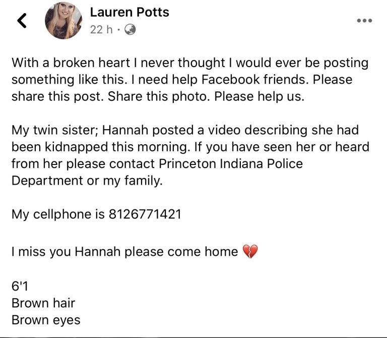 Lauren Potts Facebook Post