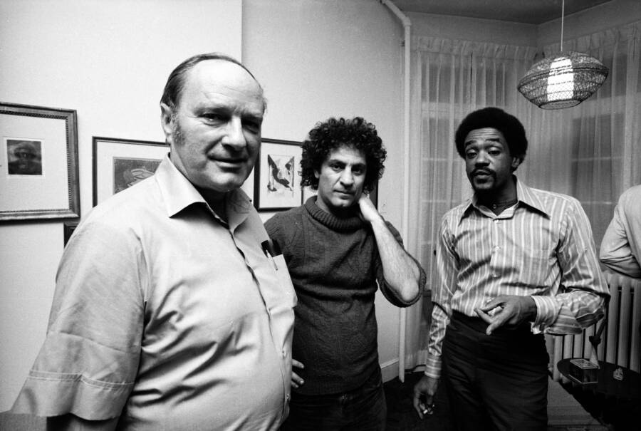 Abbie Hoffman And David Dellinger With Bobby Seale