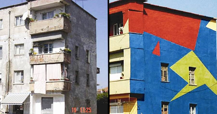 Before And After Building In Tirana