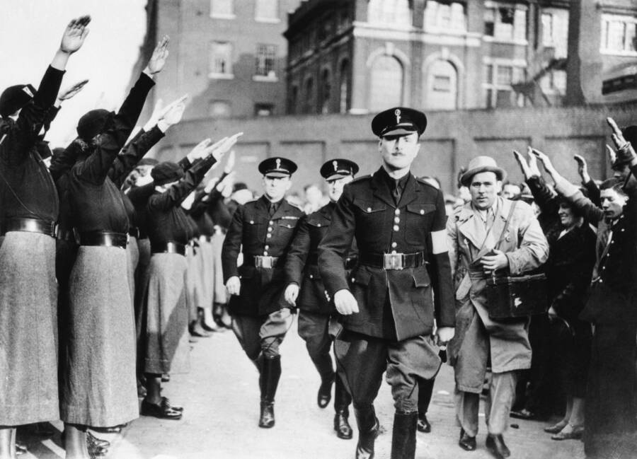British Union Of Fascists Crowd Saluting Oswald Mosley