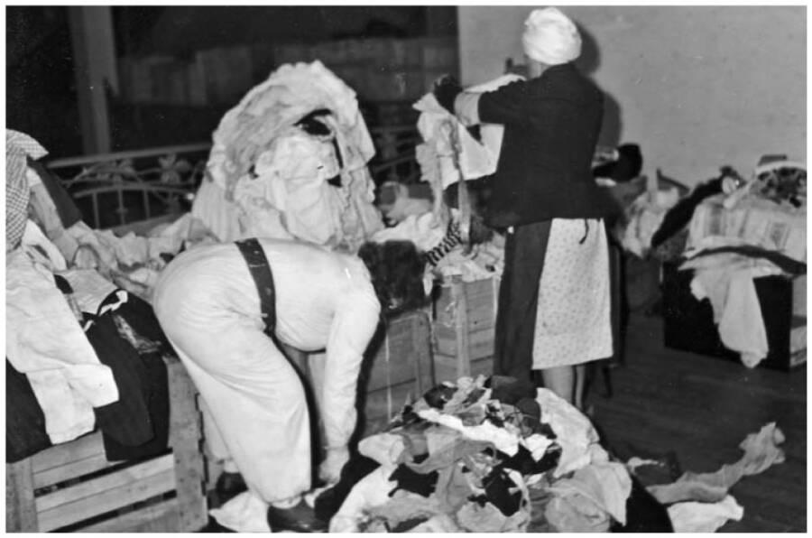 Jewish Prisoners Sorting Clothing