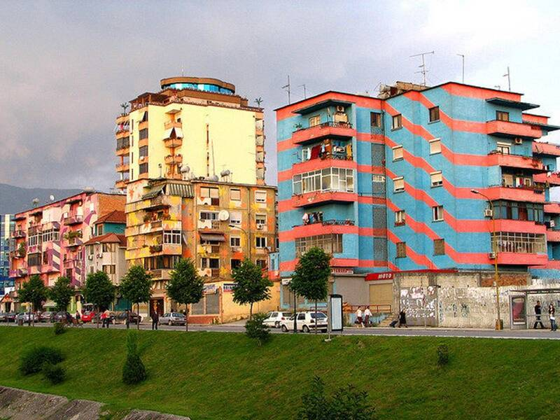 Patterned Buildings In Tirana