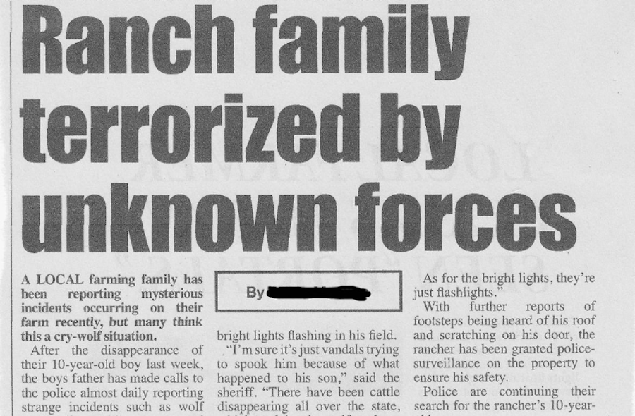 Skinwalker Ranch Newspaper Headline
