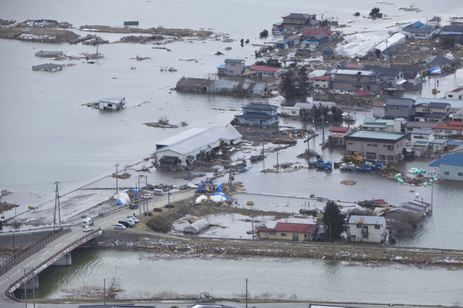 Submerged Houses Following Tohoku Tsunami