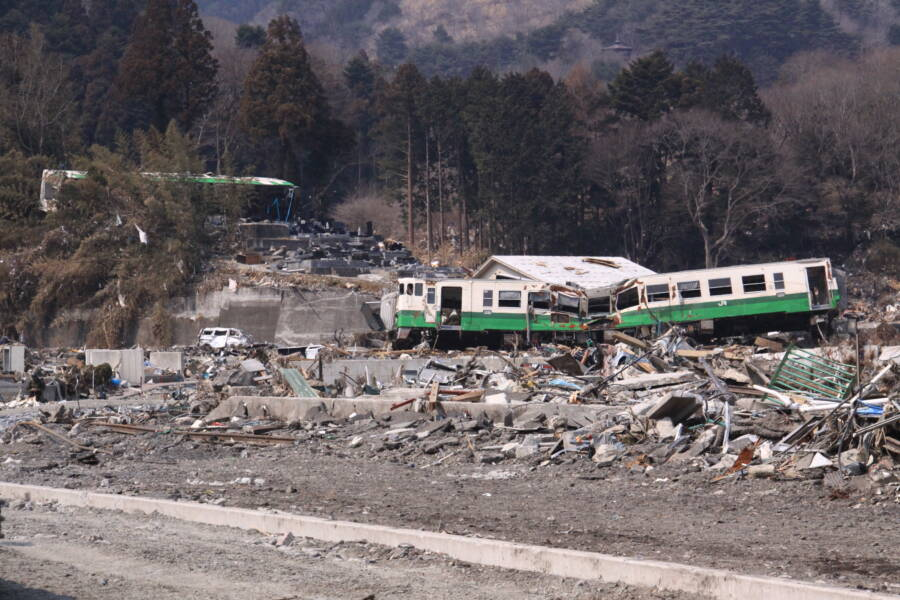 Train Wreckage Following Japan Tsunami