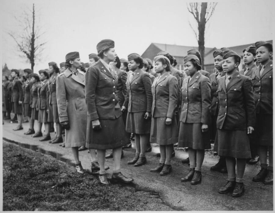 Charity Adams Inspecting Troops