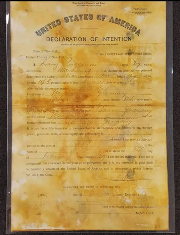 Citizenship Document From Titanic Wreck